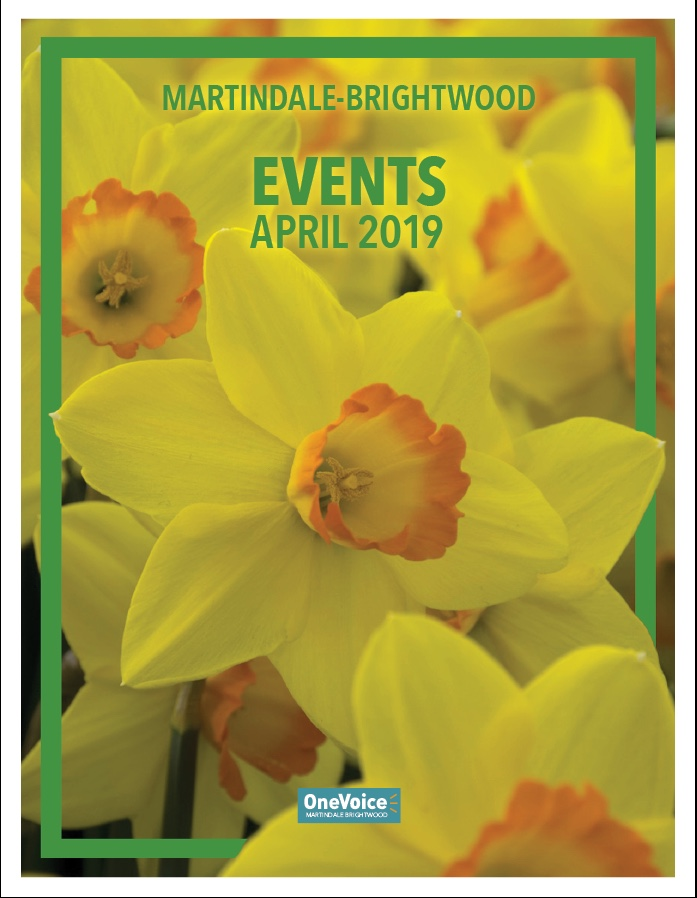 The 2019 April Events Calendar for Martindale-Brightwood