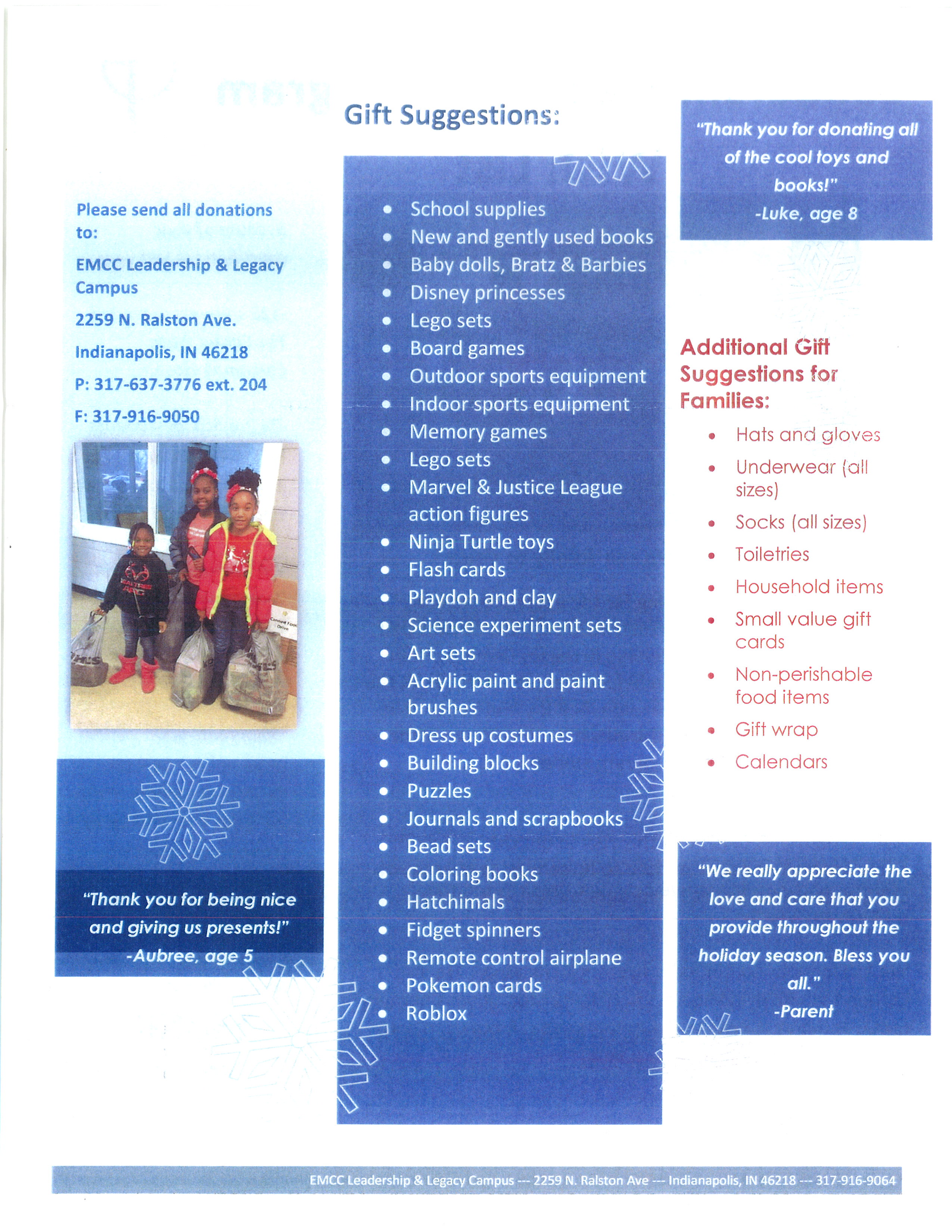 Page 1 of the Christmas Wish List for the Leadership & Legacy Campus programs.